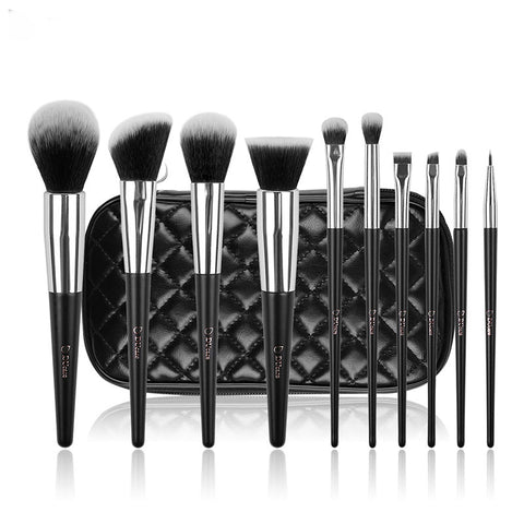 10 Piece Professional Silver Tipped Makeup Brushes with Travel Bag