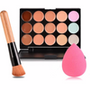 15 Color Concealer Palette with Brush and Teardrop Cosmetic Puff