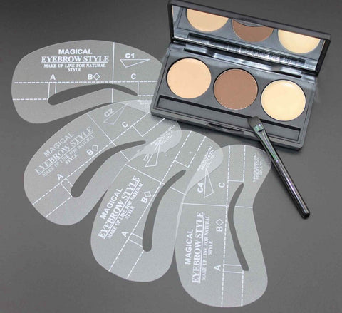 3 Color Eyebrow Powder Palette and Brush plus 4 Stencil Shapes