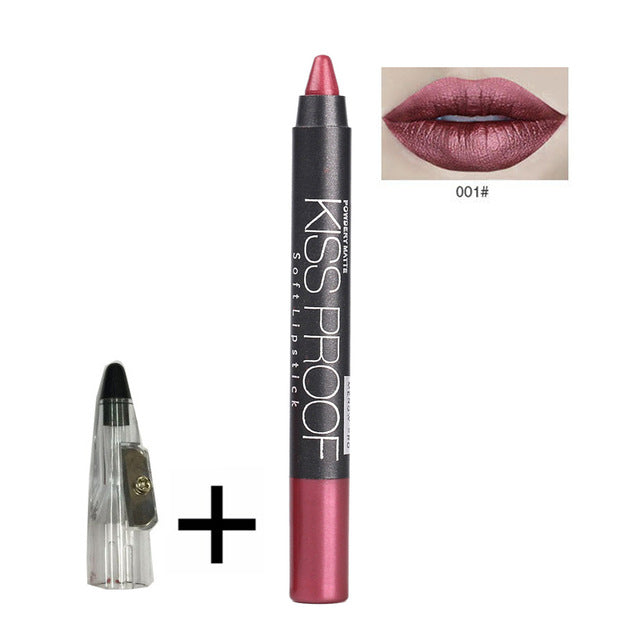 Powdery Matte Soft Lipstick Pencil with Sharpener