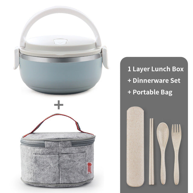 Portable Stainless Steel Japanese-Style Bento Box Containers