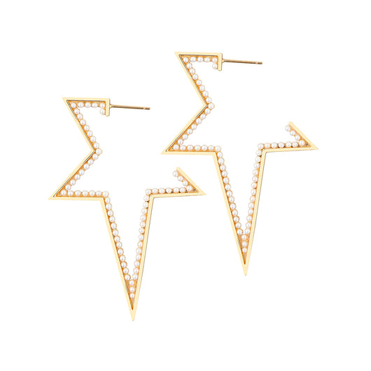 XL SHOOTING STAR PEARL HOOPS