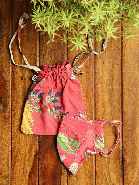 Bird Coral Face Mask & Pouch