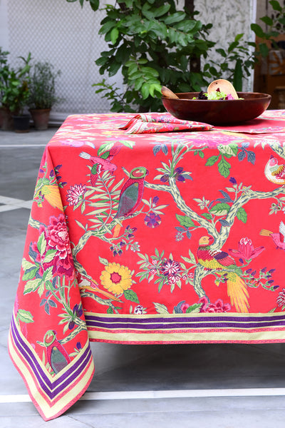 Bird Coral Tablecloth, Table - Shop Handprint