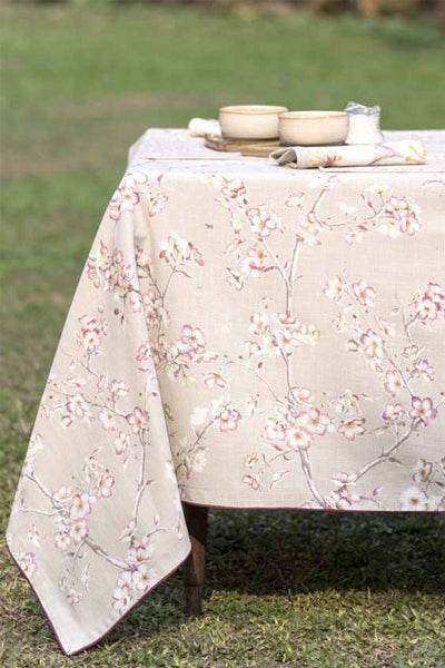 Blossom Beige Tablecloth, Table - Shop Handprint