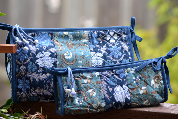 Indigo Patchwork Cosmetic Bags, Accessory - Shop Handprint