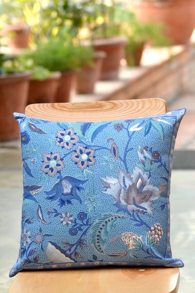 Kerala Sapphire Cotton Cushion, pillow - Shop Handprint