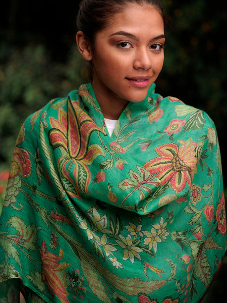 Linen Hawaii Green Scarf, Accessory - Shop Handprint