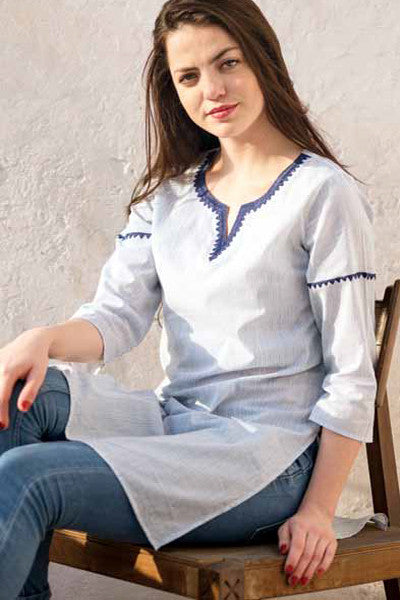 Lines Blue Lisa Kurta Top, Dresses - Shop Handprint