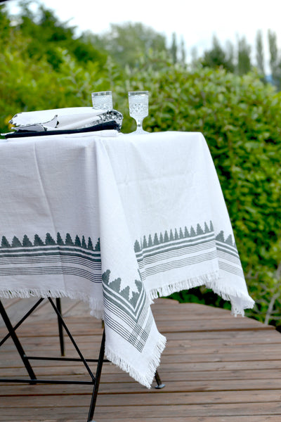 Madras White Tablecloth, Table - Shop Handprint