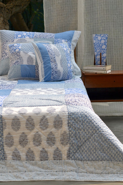 Ocean Patchwork Squares Cushion, Cushions & Covers - Shop Handprint