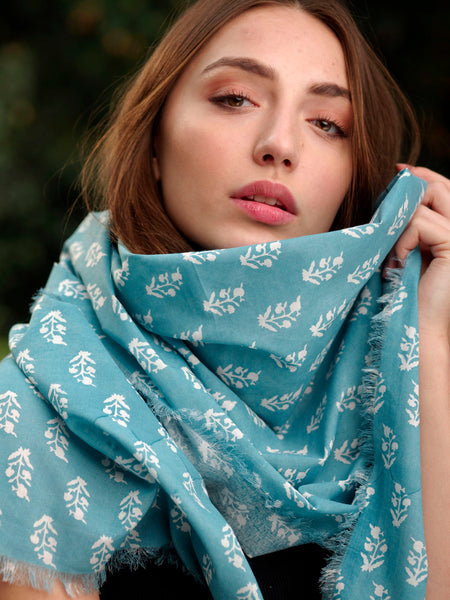 Organic Buti Blue Scarf, Accessory - Shop Handprint