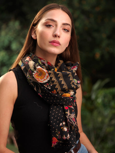 Patchwork Black Scarf, Accessory - Shop Handprint