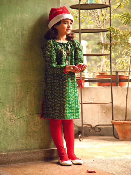 Ikat Green Peppin Dress, Children's Wear - Shop Handprint