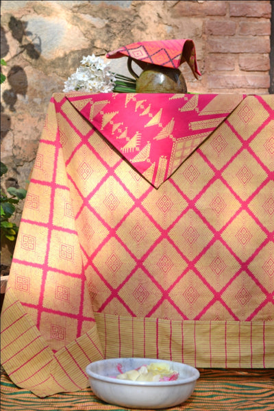 Phulkari Pink Tablecloth, Table - Shop Handprint