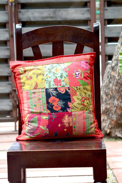 Red Patchwork Squares Cushion Cover, pillow - Shop Handprint