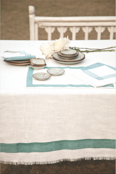 Stripe Aqua Tablecloth, Table - Shop Handprint