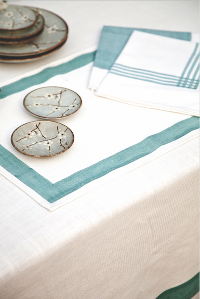Aqua Stripe Napkins, Table - Shop Handprint