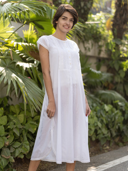 White Cotton Nightgown - Dotted Swiss