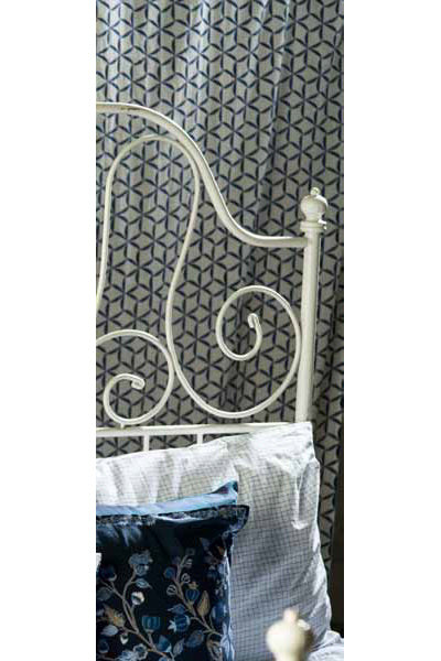 Champa Indigo & White Curtain, Curtains - Shop Handprint