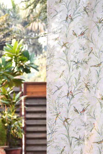 Humming Bird Natural Curtain, Curtains - Shop Handprint