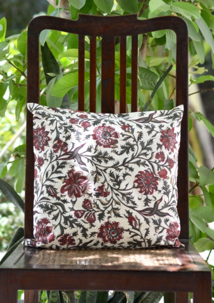 Hyderabad Cream Cushion Cover, Bedroom - Shop Handprint