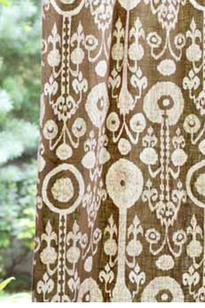Ikat Beige Curtain Panel, Curtains - Shop Handprint