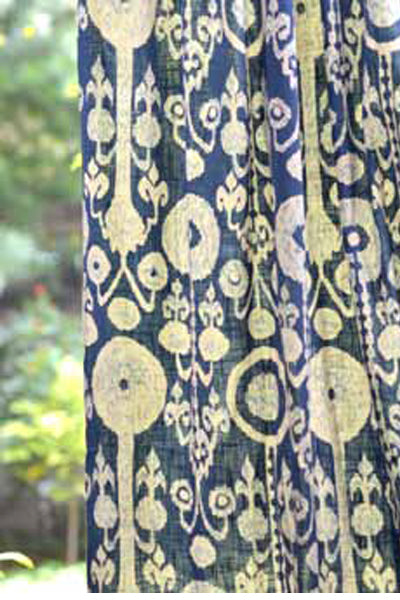 Ikat Denim Curtain Panel, Curtains - Shop Handprint