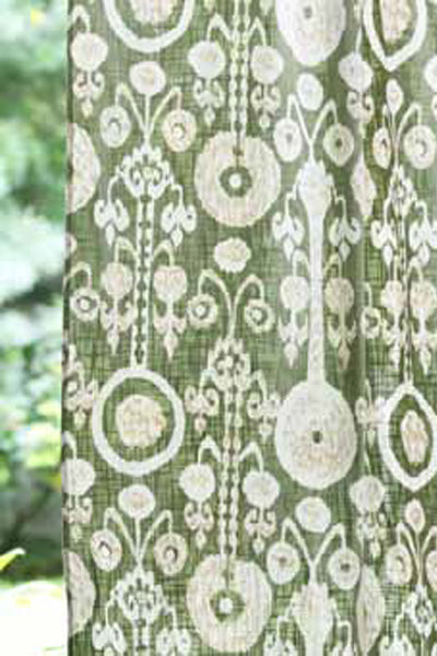 Ikat Sage Curtain Panel, Curtains - Shop Handprint