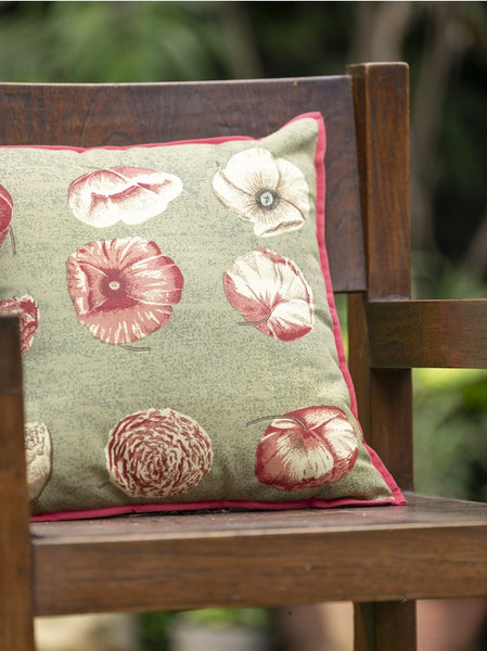 Nishi Green Canvas Cushion Cover