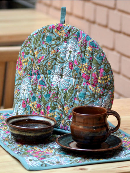 Palm Teal Tea Cozy Set, Kitchen - Shop Handprint
