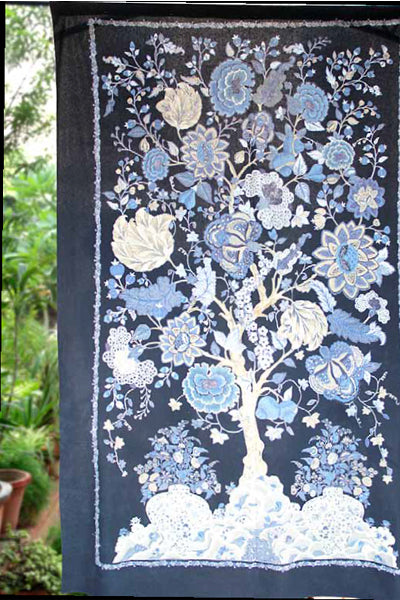Tree of Life Indigo Curtain Panel