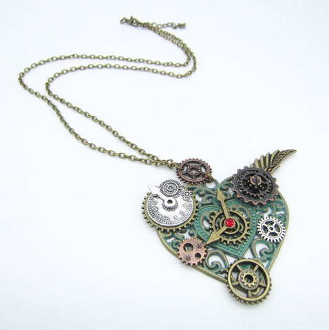 Steampunk Heart & Gears Pendant Necklace