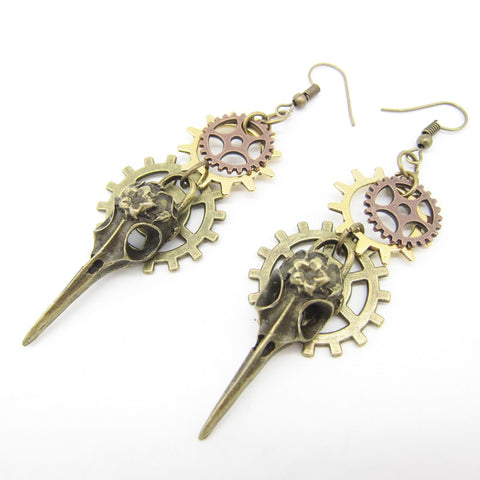 Phoenix Head and Gears Steampunk Earrings