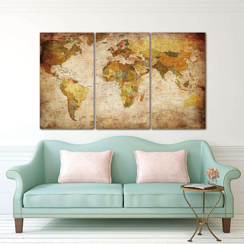 World Map 3 Piece Canvas – Novelty Finds on