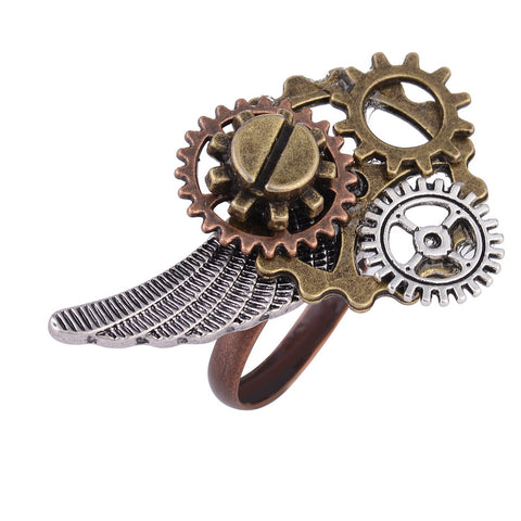 Steampunk Gear-Wing Ring