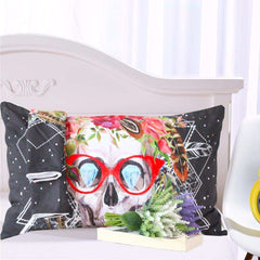 Sugar Skull with Glasses Bedding Duvet Cover 2 Pillowcases