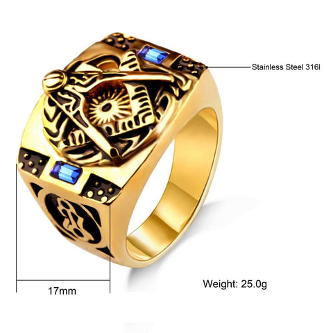 Vintage Gold and Black Stainless Steel Ring