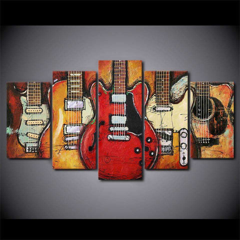 Vintage Guitar 5 Piece Canvas