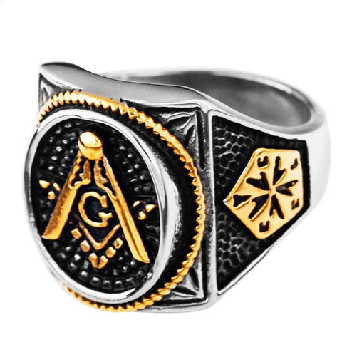 Gold Plated Stainless Steel Freemason Ring