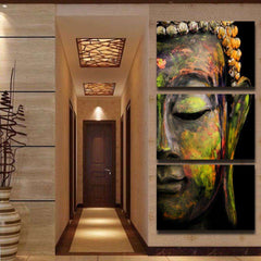 Colored Buddha 3 Piece Canvas -Framed/Frameless