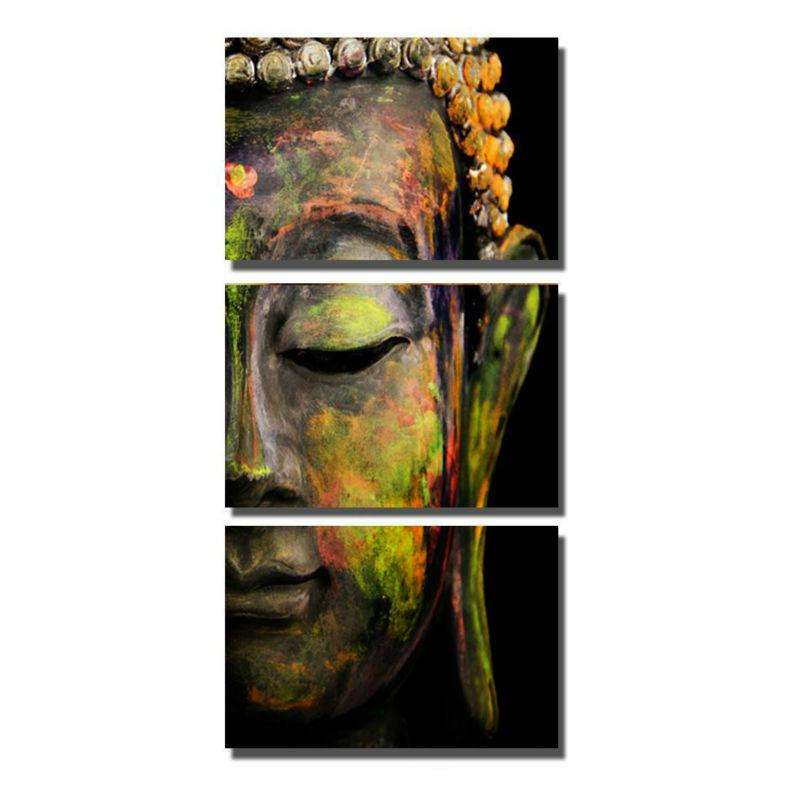 Colored Buddha 3 Piece Canvas -Framed/Frameless – Novelty Finds
