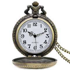 Freemasonry Antique Bronze Quartz Pocket Watch With Chain