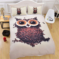 Owl Coffee Beans Duvet Cover with Pillowcases