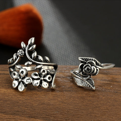 Boho Vintage Antique Silver Ring Set
