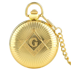Freemason Quartz Pocket Watch with Chain