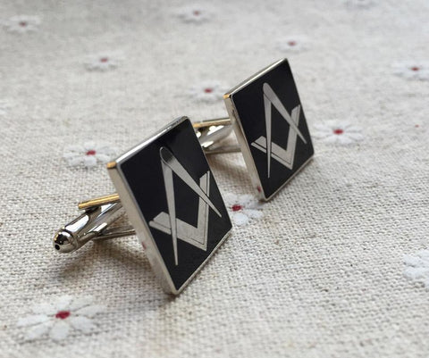 Freemason Black & Silver Cufflinks Pair