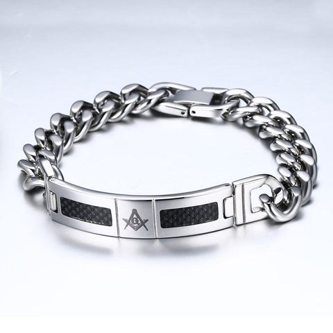 Freemason Stainless Steel & Black Carbon Fiber Inlay Bracelet