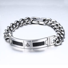 Image of Freemason Stainless Steel & Black Carbon Fiber Inlay Bracelet