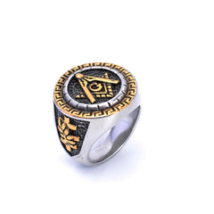 Mens Silver & Gold Freemason Stainless Steel Ring